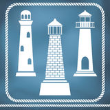 Lighthouse silhouettes Royalty Free Stock Photos
