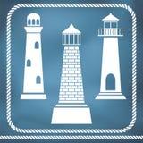 Lighthouse silhouettes Royalty Free Stock Photos