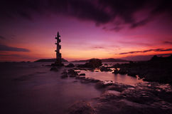 The Lighthouse of Sisiman Bay. In all its otherworldy sunset glory Stock Photo