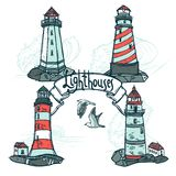 Lighthouse Sketch Set Royalty Free Stock Image