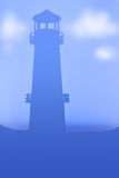 Lighthouse sky blue template Stock Image