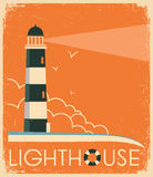 Lighthouse and sky on old poster.Vector vintage image Stock Photography
