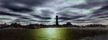 Lighthouse and sky, panoramic Royalty Free Stock Photography