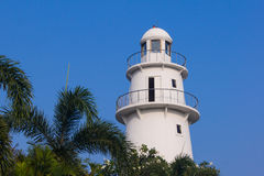 Lighthouse with skyblue. And palmtree royalty free stock images