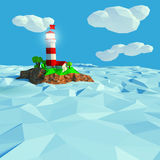Lighthouse on a small island in the sea Royalty Free Stock Photography