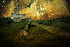 Lighthouse and small Magellanic Cloud (Elements of this image fu Stock Photos