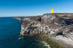 Lighthouse at Snaefellsnes. Small lighthouse on the cliff at Snaefellsnes, the western of Iceland royalty free stock image