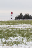 Lighthouse in Snow Field Stock Photo