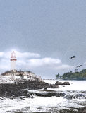Lighthouse in Snow Storm Royalty Free Stock Images