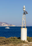 Lighthouse with solar panel in Milos island. Greece royalty free stock photography