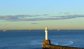 Lighthouse on South Breakwater, Aberdeen Harbour, Scotland Royalty Free Stock Images