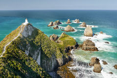 Lighthouse, South Pacific Coastline, New Zealand Stock Photography