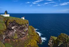 Lighthouse at St Abbs Head, Berwickshire, Scotland Stock Images