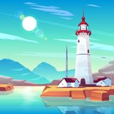 Lighthouse standing on rocky seashore at sunny day vector illustration