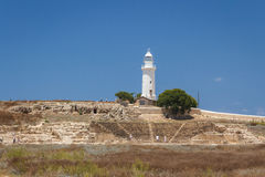 Lighthouse standing on the ruins of the ancient city of Pafos Royalty Free Stock Image