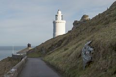 Lighthouse at Start Point in Devon. The light house at Start Point is a classic design. It stands at the end of the Start Peninsular and has warned sailing stock images