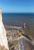 Lighthouse and steep chalk cliffs at Beachy Head Royalty Free Stock Photos