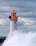 Lighthouse in storm. Port Fairy lighthouse with wave breaking in the foreground Stock Photography