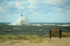 Lighthouse in Storm Royalty Free Stock Photography