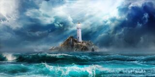 Lighthouse in the storm with big water waves and stormy clouds under light of hope