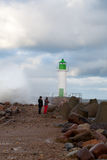 Lighthouse in storm. Royalty Free Stock Image
