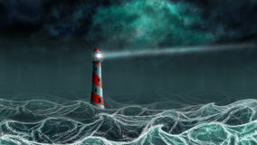 Lighthouse in the storm. Lighthouse illuminated at night stormy sea, digital illustration Royalty Free Stock Photo