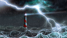 Lighthouse in the storm Stock Photo