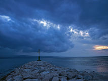 Lighthouse in storm Stock Photography