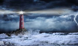 Lighthouse In Stormy Landscape. Leader And Vision Concept