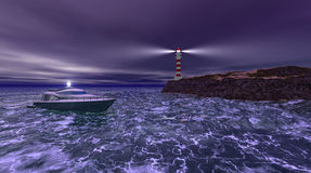 Lighthouse stormy night Stock Image