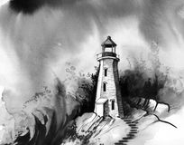 Lighthouse in stormy sea. Ink illustration of a lighthouse in stormy sea stock illustration
