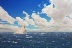 Lighthouse in the stormy sea at Simons Town Royalty Free Stock Photography
