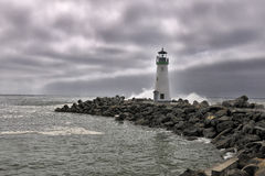 Lighthouse while stormy weather Royalty Free Stock Images