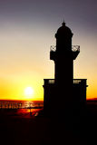 Lighthouse. Sun Rising behind a lighthouse Royalty Free Stock Image