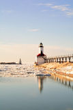 Lighthouse on sunny winter day Royalty Free Stock Image