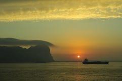 Lighthouse in sunrise. Gibraltar Europa point lighthouse in sunrise Royalty Free Stock Image