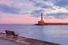 Lighthouse at sunrise, Chania, Crete, Greece Royalty Free Stock Photography