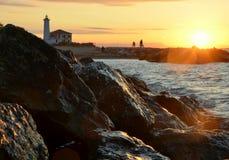 Lighthouse by sunrise. Italy, beach Bibione Stock Photo