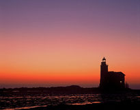 Lighthouse sunrise markermeer the netherlands Royalty Free Stock Photos