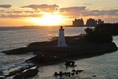 Lighthouse sunrise in tropical island paradise. Lighthouse in Island Paradise during Sunrise stock photography