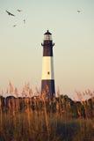 Lighthouse at sunrise. Tybee island, USA Stock Photography