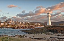Lighthouse sunrise at wollongong Royalty Free Stock Photos