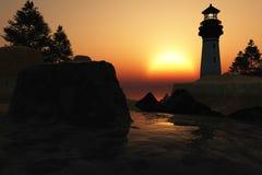 Lighthouse Sunset. Digital illustration of a lighthouse royalty free illustration