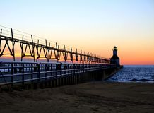 Lighthouse at Sunset Stock Photography