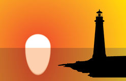 Lighthouse Sunset. A lighthouse silhouette at sunset, with water reflection. Editable illustration stock illustration
