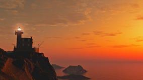 Lighthouse at Sunset. Lighthouse on rocky cliffs at sunset, 3d digitally rendered illustration stock illustration