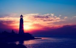 Lighthouse on sunset. Crimea, Ukraine stock photography
