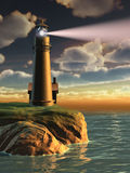 Lighthouse at sunset. Gorgeous landscape with a lighthouse at sunset. Digital illustration stock illustration