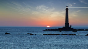 Lighthouse during sunset. Landscape with Lighthouse during sunset. Brittany, France royalty free stock image