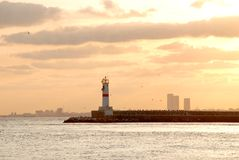 Lighthouse at sunset. Lighthouse in sunrise at Istanbul Stock Photography